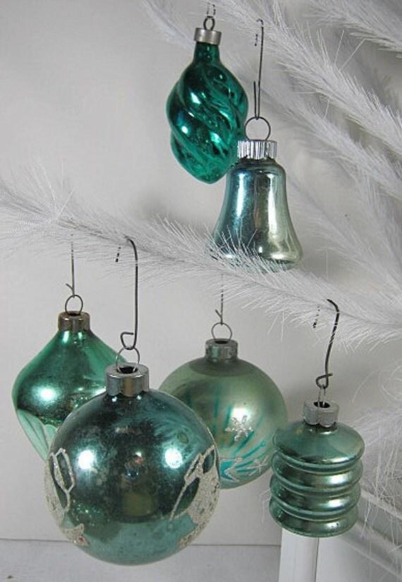Antique teal mercury glass christmas ornaments set of