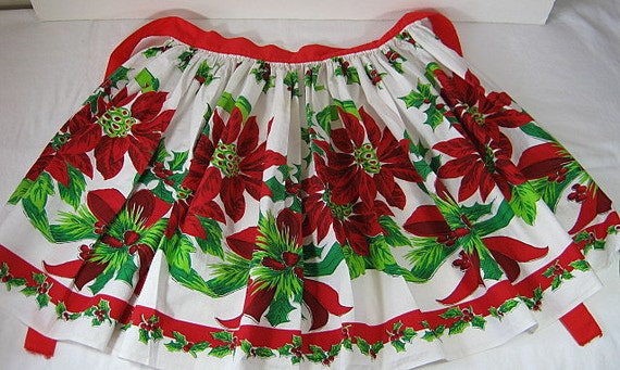 Vintage Christmas Apron Red Poinsettias Holiday Hostess Kitchen