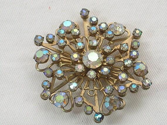 Vintage Rhinestone Brooch Snowflake Pin Scarf gIft