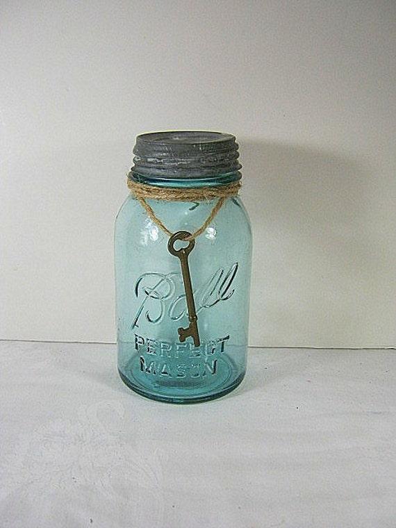 Ball Canning Jar SKELETON KEY Antique 1920s  Zinc Lid Perfect Mason no 1