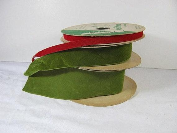 Vintage Velvet Ribbon Set/3 Red Green Retro Holiday Spooled