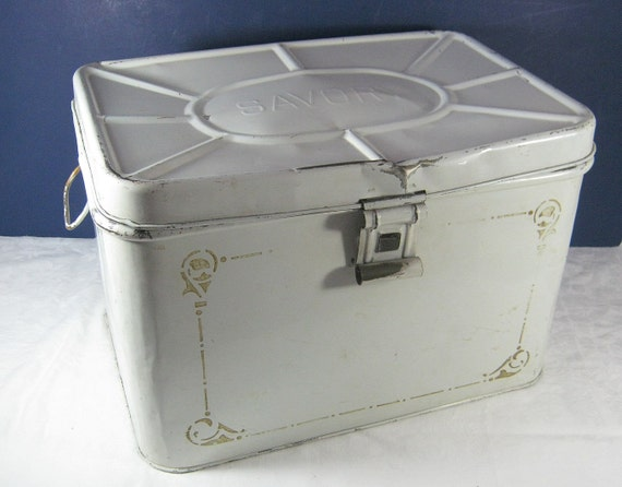 Vintage Savory Bread Box White Cottage Kitchen Storage