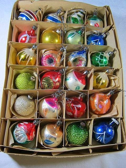 Antique Mercury Glass Ornaments Set/24 Vintage Feather Tree