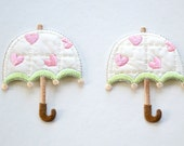 Lovely Umbrella Embroidered Iron On Applique - Set 2