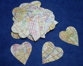 Map heart die cuts (100 peices)