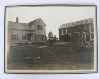 Farm House and Barn Vintage Photo