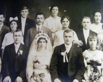 Large Wedding Party Vintage Photo