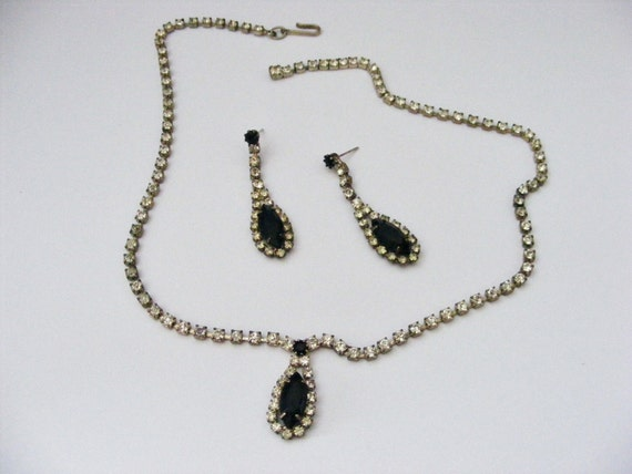 Vintage Rhinestone Black Necklace and Earring Set