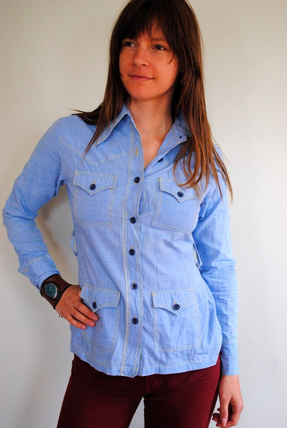 70s Chambray Western Baby Blue Button Up--Size SM