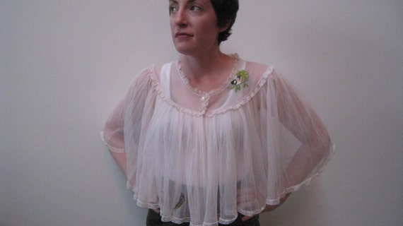 1960s Delicate Bird and Feather Housecoat sz Sm-Large