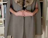 Vintage 1960s Gray Wool and Fur Trim Cape