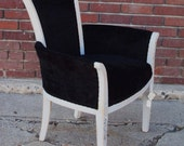 hand painted chair with black velvet upholstery