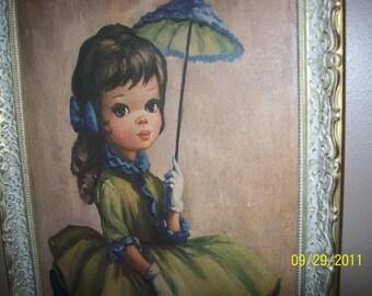 Sale   Vintage large Umbrella big eye girl   Sale