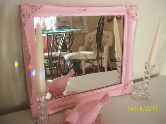 SALE  30.00  Vintage upcycled baroque 14x12 cottage shabby mirror