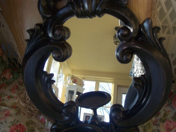 French Country decorative boudoir, baroque wall decor Black ornate mirror with candle holder sconce