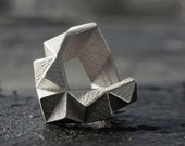 KINETIC - Sterling silver faceted modern 3D printed ring