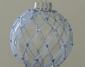 Ice blue beaded glass ornament