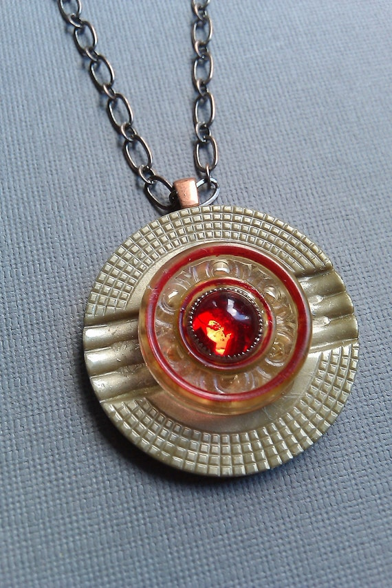Vintage Button Necklace, Ruby Red , Art Deco Style