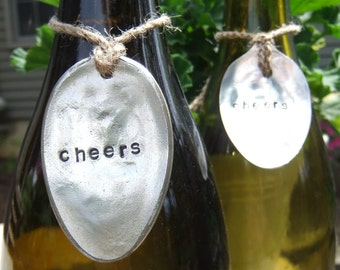 Wine Tag, Bottle Charm Decor Vintage Hand Stamped Spoon
