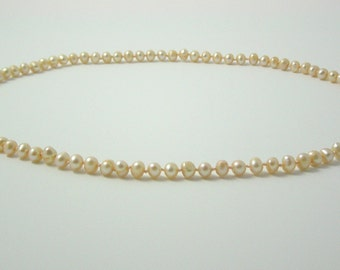 Freshwater Cultured Pearl Necklace - Apricot Hand Knotted Pearls - Matinee Length