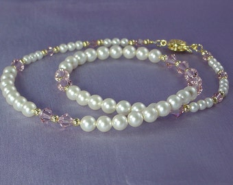 Swarovski Pearl and Crystal Necklace - Vintage Rose Crystals and Cream Pearls - Princess Length