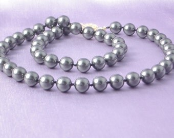 Swarovski Pearl Necklace - Black Hand Knotted Pearls - Princess Length