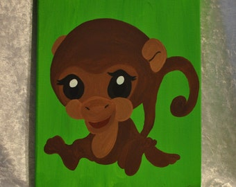 Hand painted monkey on green