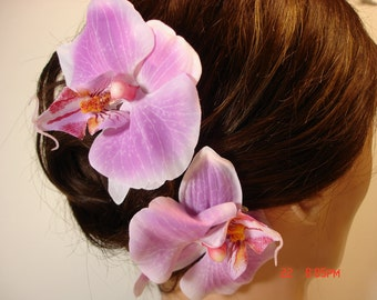 Two Pink Orchid Hair Clips