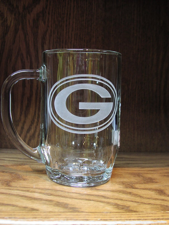 Green Bay Packers Gift,  Etched Beer Mug, Groomsmen Gift, Custom Mug,