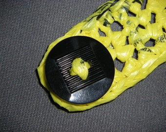 Black and Yellow Plarn Bracelet with Vintage Button