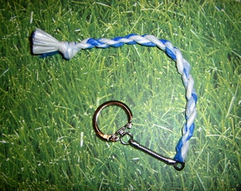 Blue and White Plarn Keychain recycled plastic bags newspaper bags