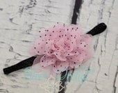 Pink and black polka dot chiffon flower on a black glitter headband..Perfect way to add some pink this fall