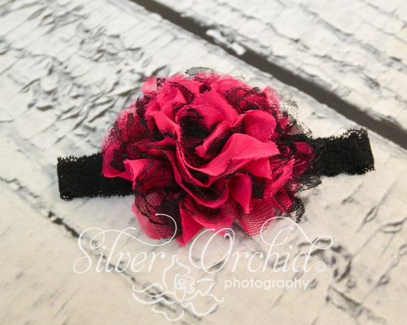 Black and hot pink chiffon and lace flower...Must have for Valentine's Day..Baby toddler child adult headpiece.