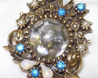"Vintage 1 5/8"" Coro Brooch Opal Blue Rhinstone Lucite"