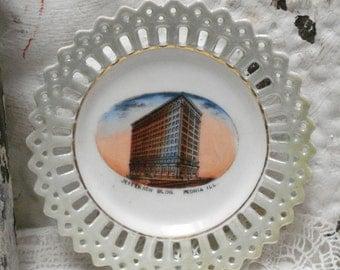 4 3/4 Peoria ILL Jefferson Building LUSTREWARE Souvenir Germany