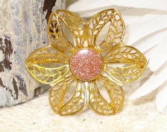 Gold Sand Stone Brooch Flower