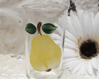 Small Pear JUICE TUMBLER Hand Painted