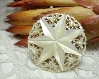 """1 5/8"""" Mother Of Pearl Carved Star Brooch"""