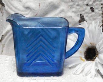 Hazel Atlas Blue Glass Creamer