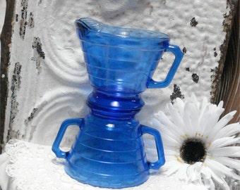 Cobalt Moderntone CREAMER & SUGAR BOWL Hazel Atlas