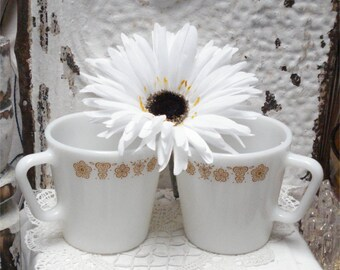 Gold Pyrex BUTTERFLY COFFEE Mugs
