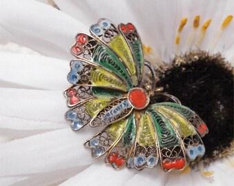 Antique Enamel 800 Butterfly Brooch