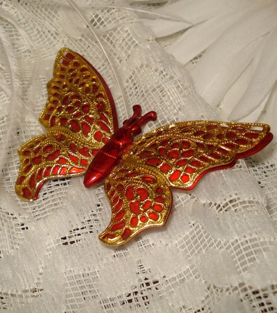 2 3/8 Germany Brooch Gold Red Butterfly