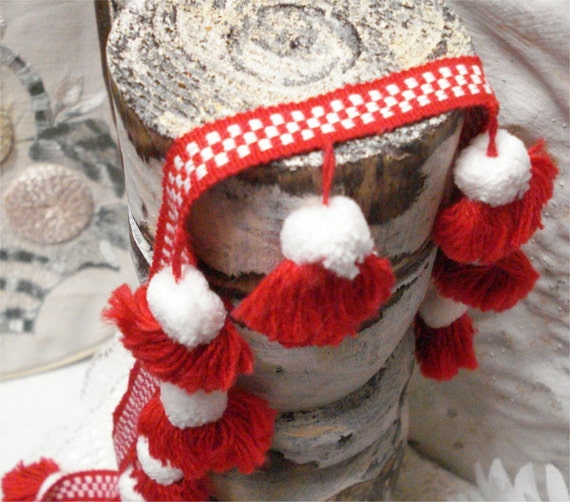 """RESERVED 37 Yards 2"""" Wide Red White Chenille Pom Pom Fabric Trim Vintage"""