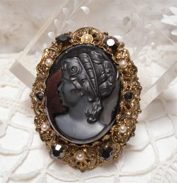 "2"" German Hematite Cameo Brooch Faux Pearls"