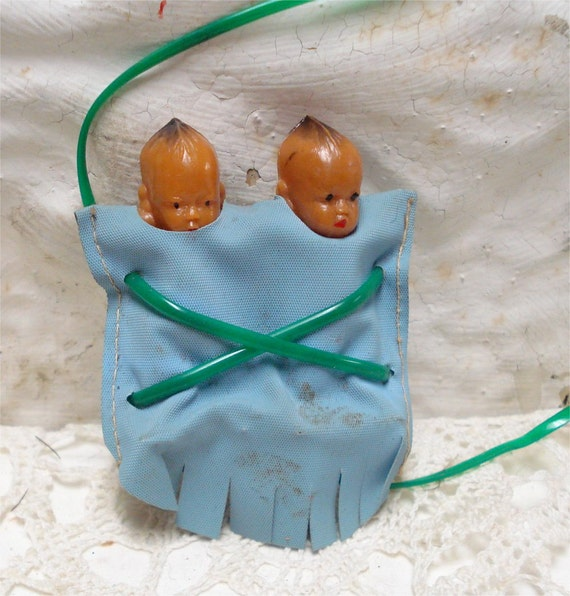 """3"""" Vintage Twin Baby Papoose Indian Celluloid Doll"""