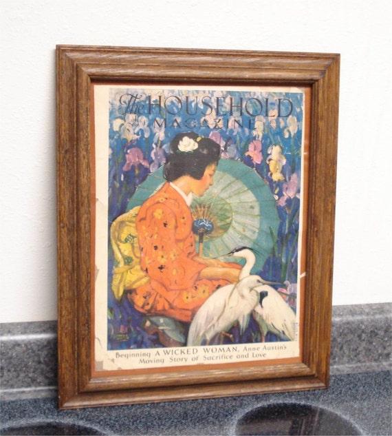 1933 16x13 Framed April House Hold Magazine GEISHA BIRDS IRIS Litho Cover