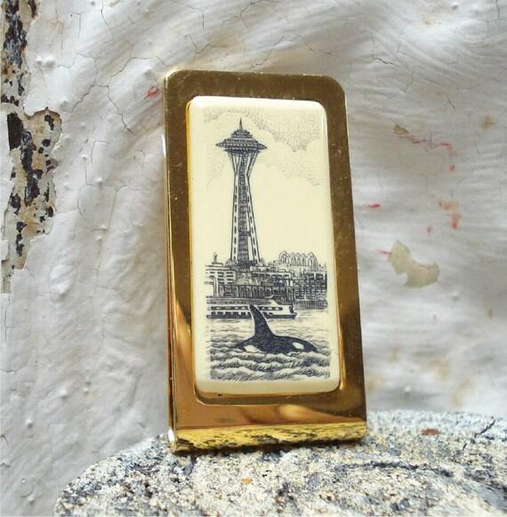 Barlow Scrimshaw SPACE NEEDLE Money Clip SEATTLE Whale Vintage