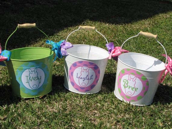 Personalized Easter Pail/Basket/Bucket-Sweet Polka Dots
