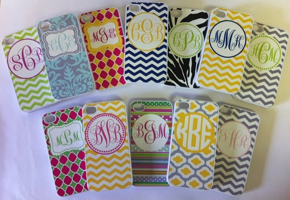 PERSONALIZED MONOGRAMMED Cell IPhone Case- Iphone 4/4S,- Pick Your Design